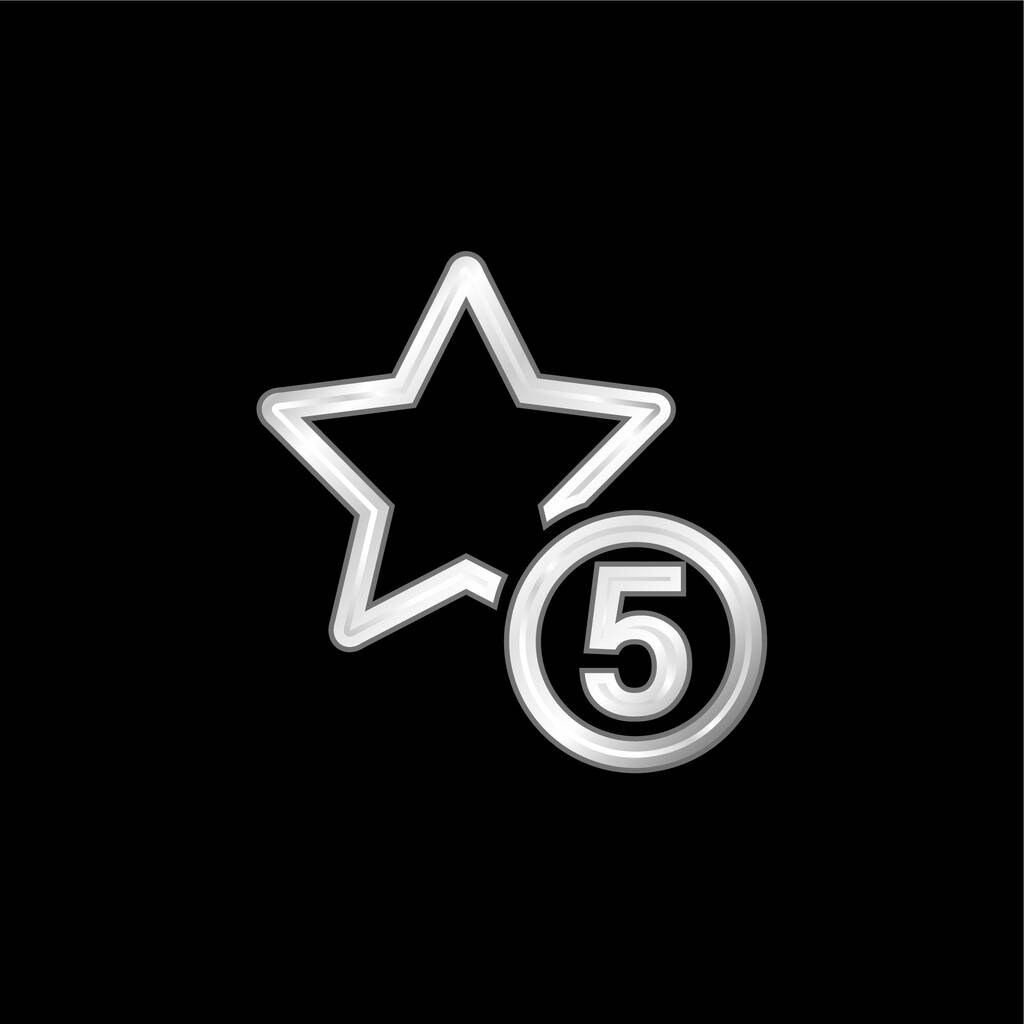 5 Stars Sign silver plated metallic icon