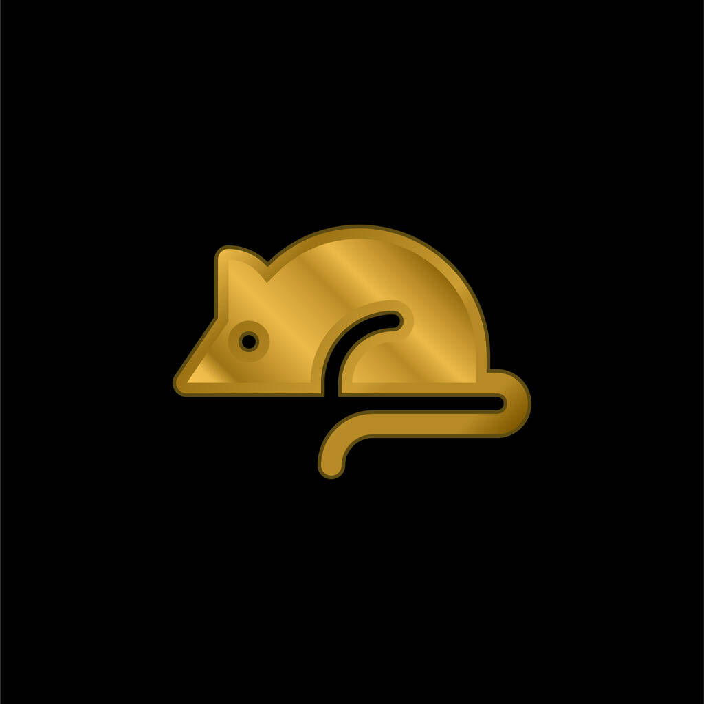Animal Testing gold plated metalic icon or logo vector