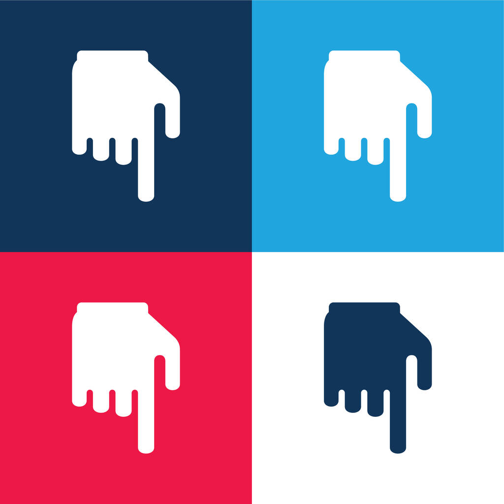 Black Hand With Finger Pointing Down blue and red four color minimal icon set