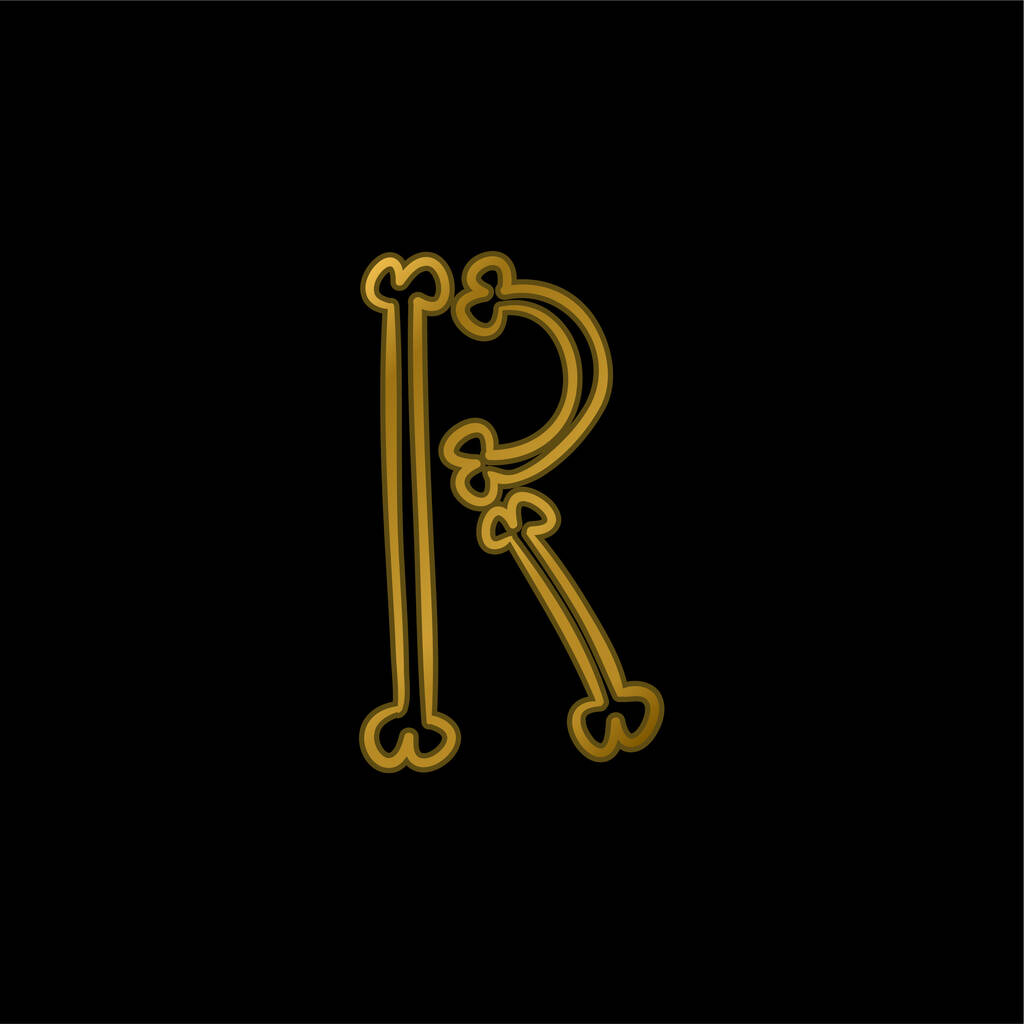 Bones Typography Outline Of Letter R gold plated metalic icon or logo vector