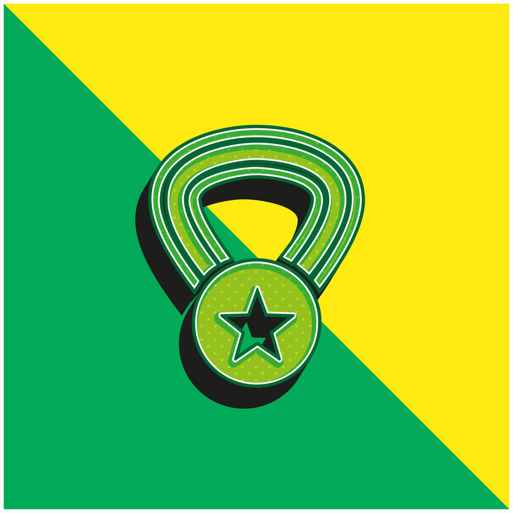 Award Medal With A Star On A Necklace Green and yellow modern 3d vector icon logo