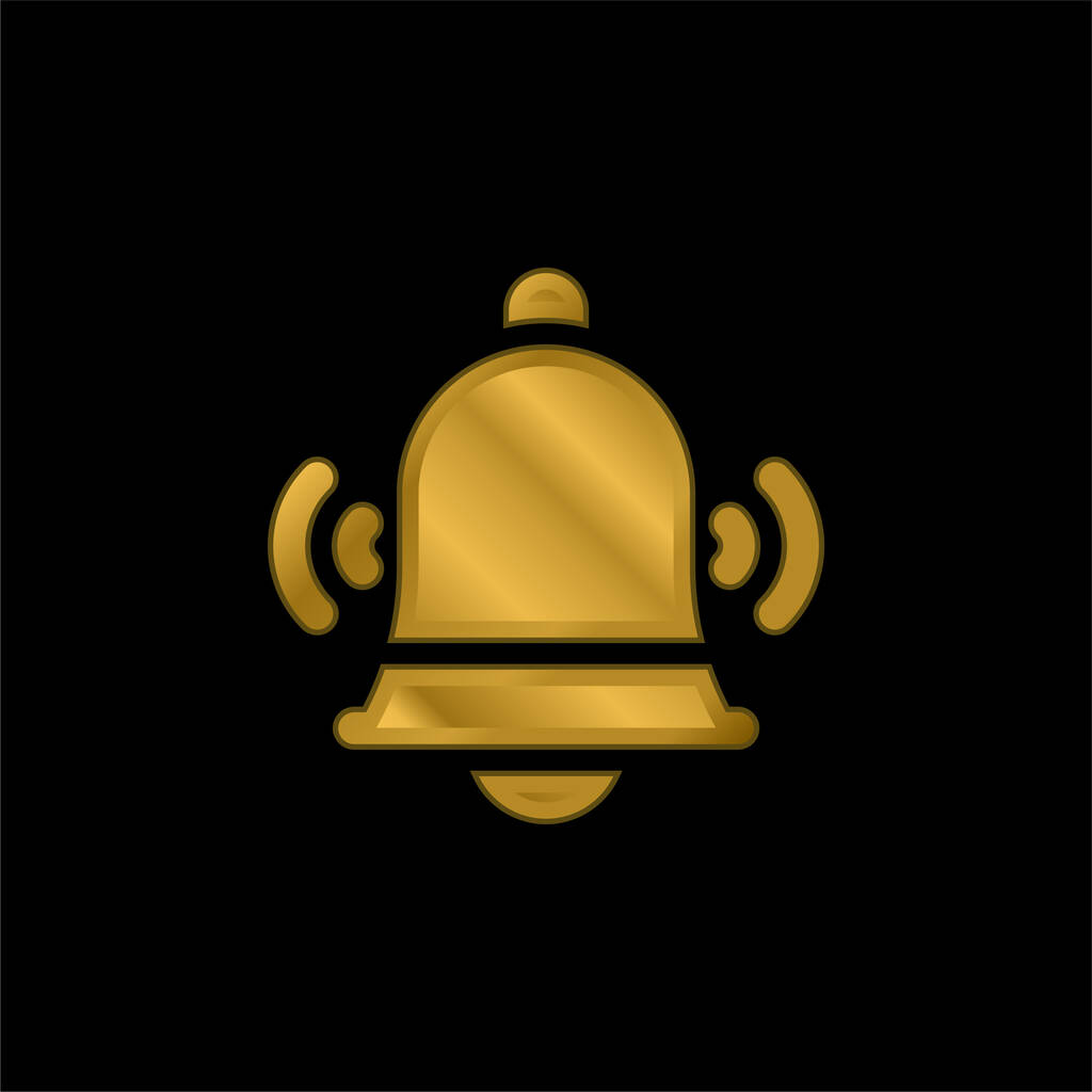 Bell gold plated metalic icon or logo vector