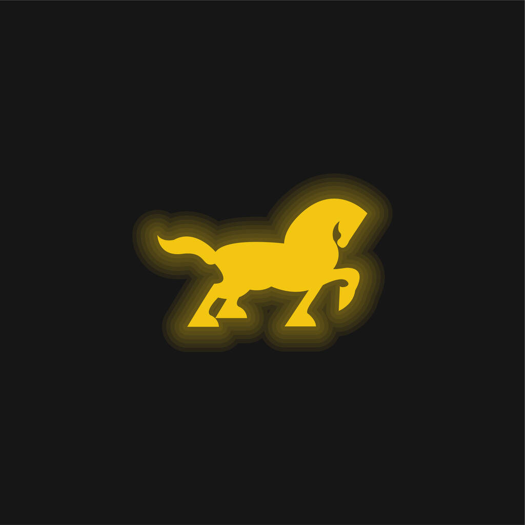 Big Black Horse Walking Side Silhouette With Tail And One Foot Up yellow glowing neon icon