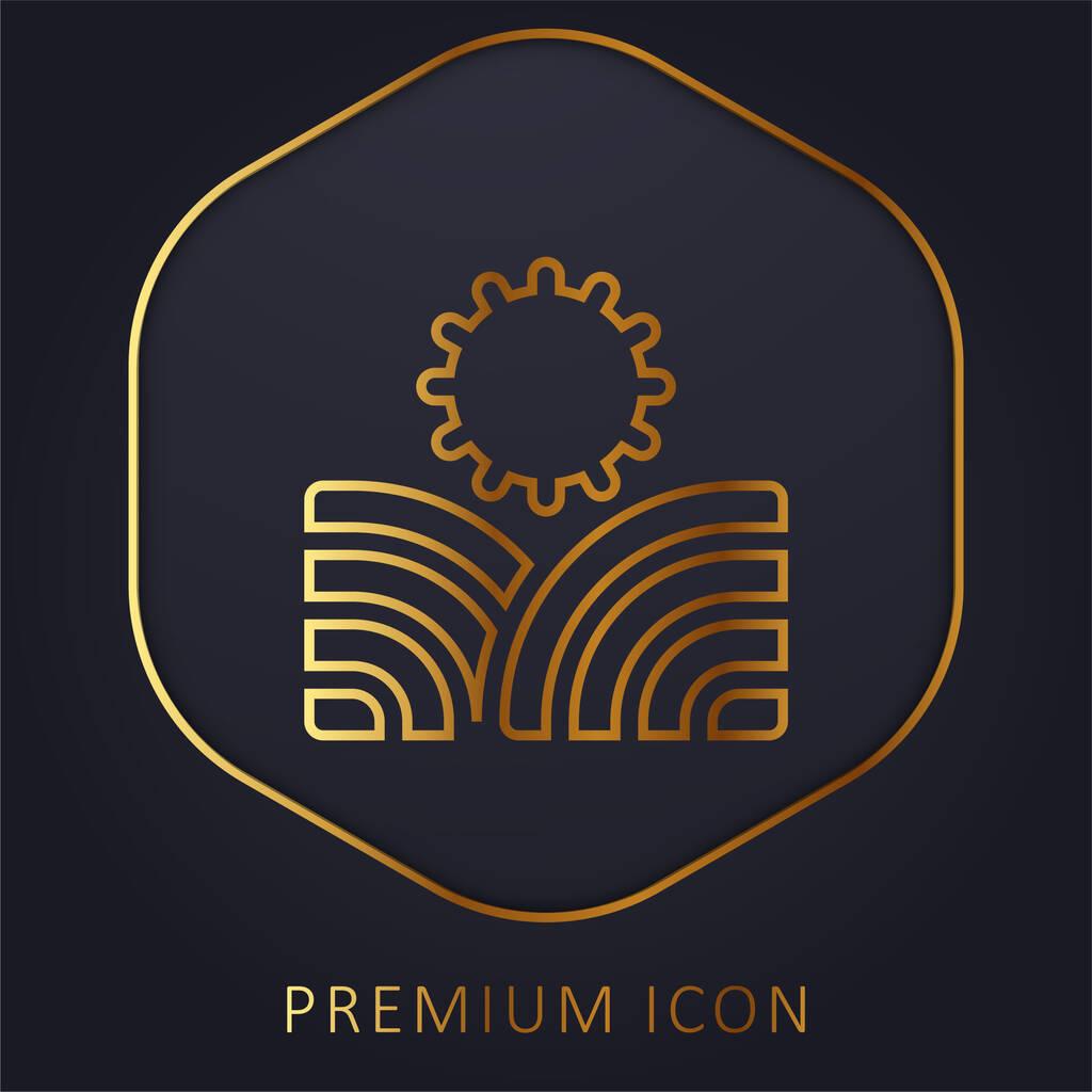 Agriculture golden line premium logo or icon