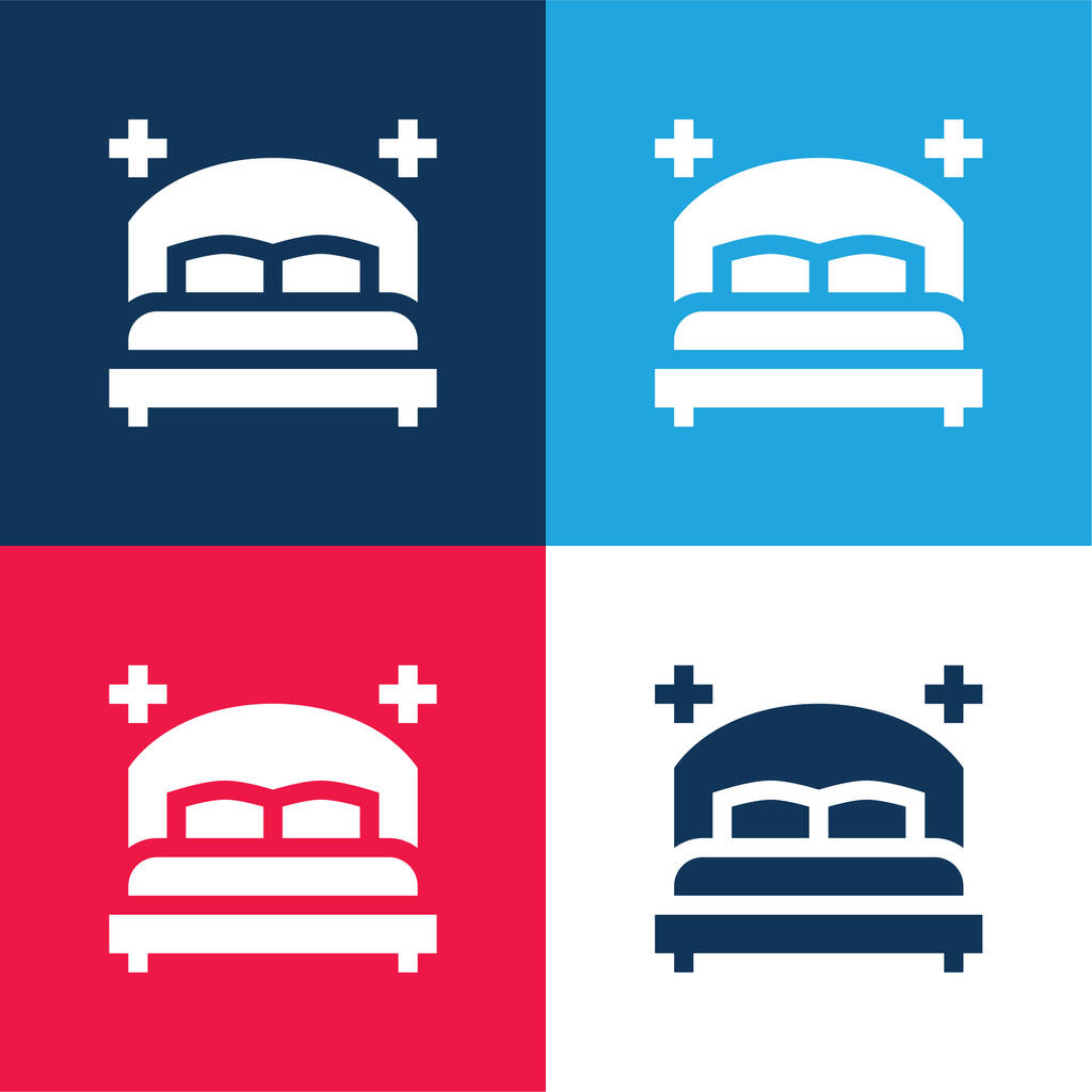 Bedroom blue and red four color minimal icon set