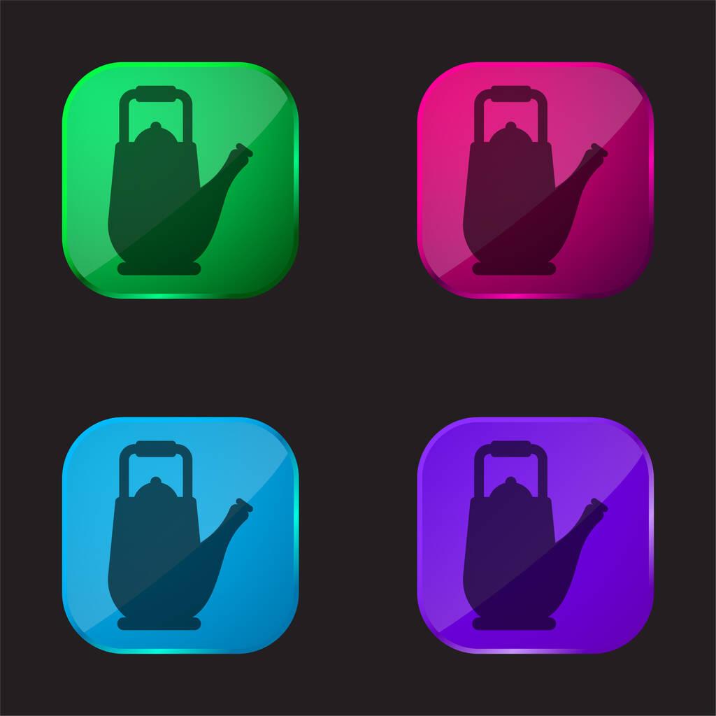 Big Teapot four color glass button icon