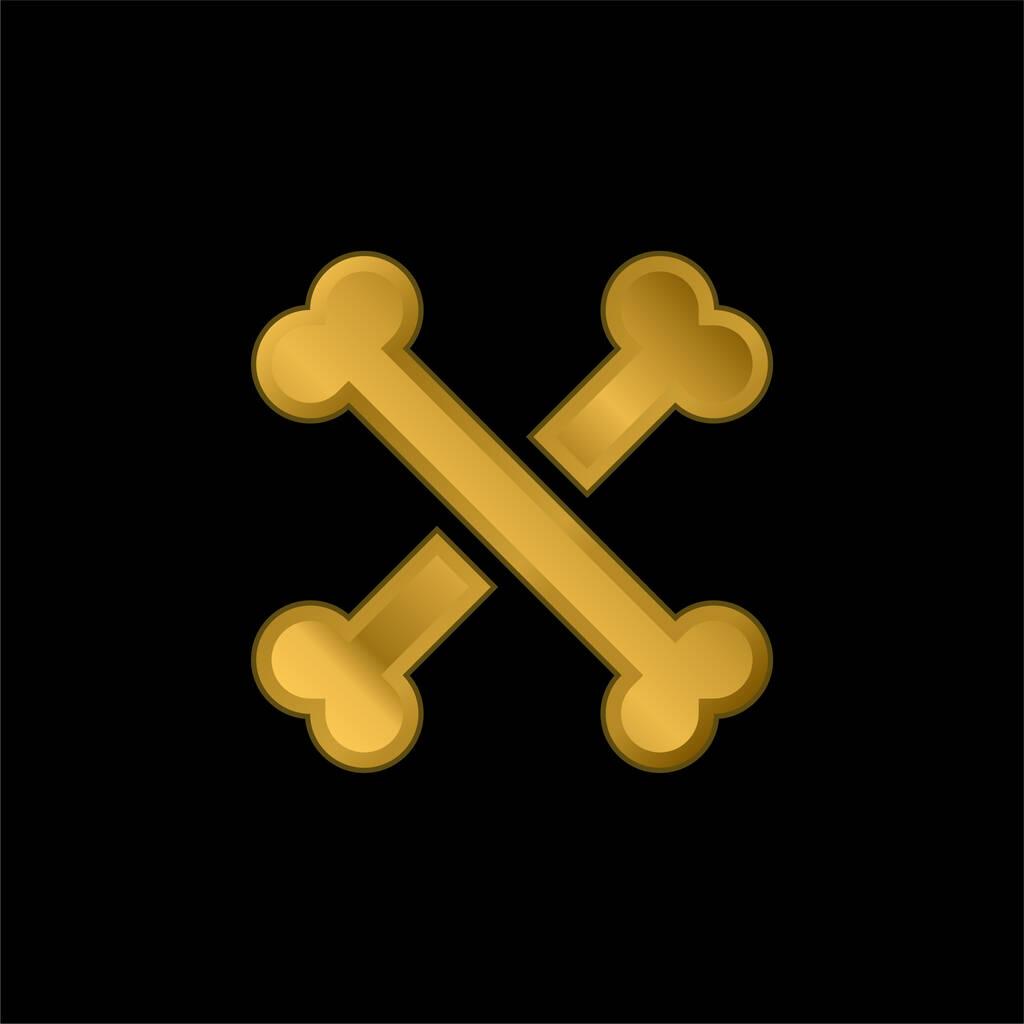 Bones gold plated metalic icon or logo vector