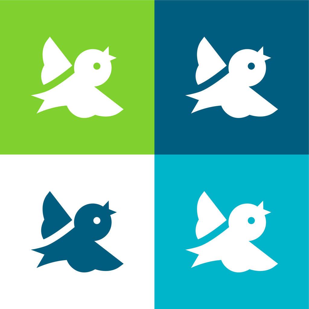 Bird Flat four color minimal icon set