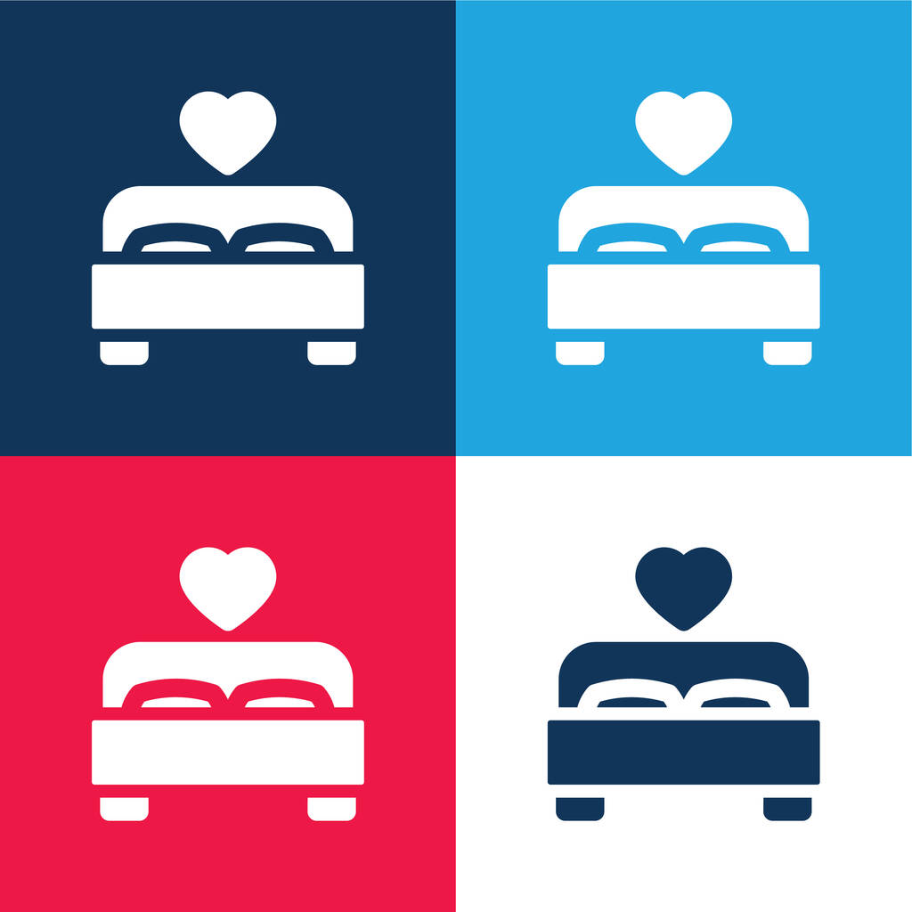 Bed blue and red four color minimal icon set