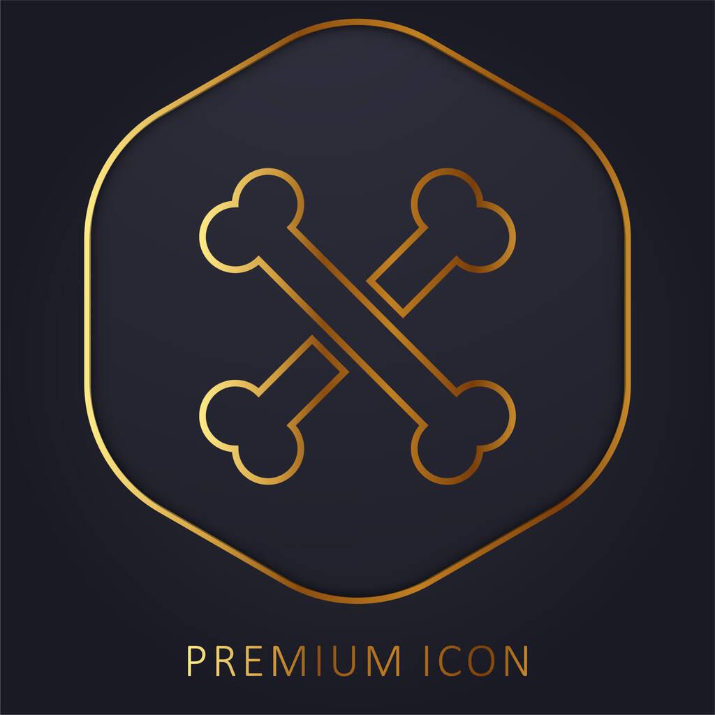 Bones golden line premium logo or icon