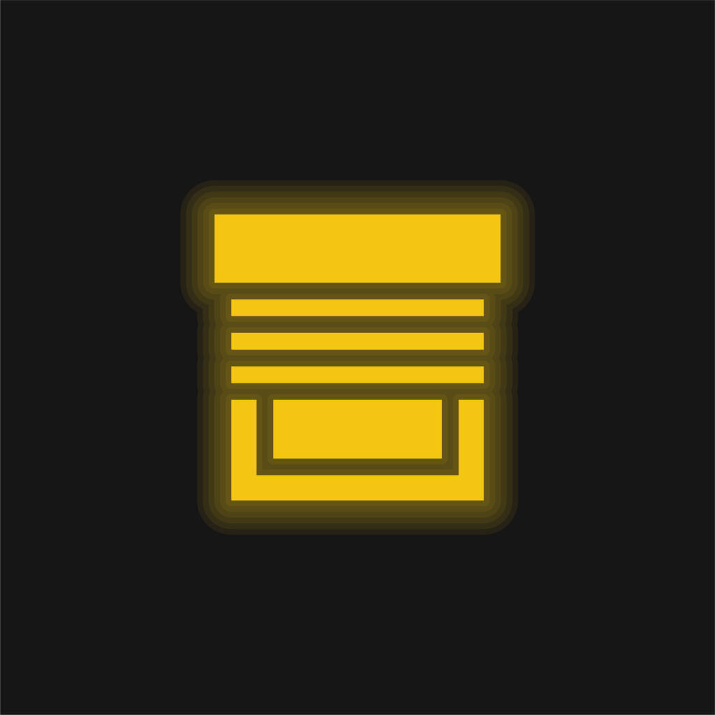 Blinds yellow glowing neon icon
