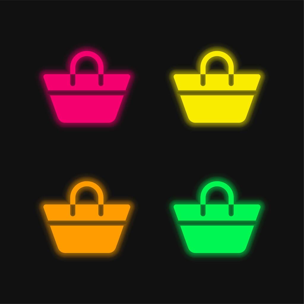 Beach Bag four color glowing neon vector icon