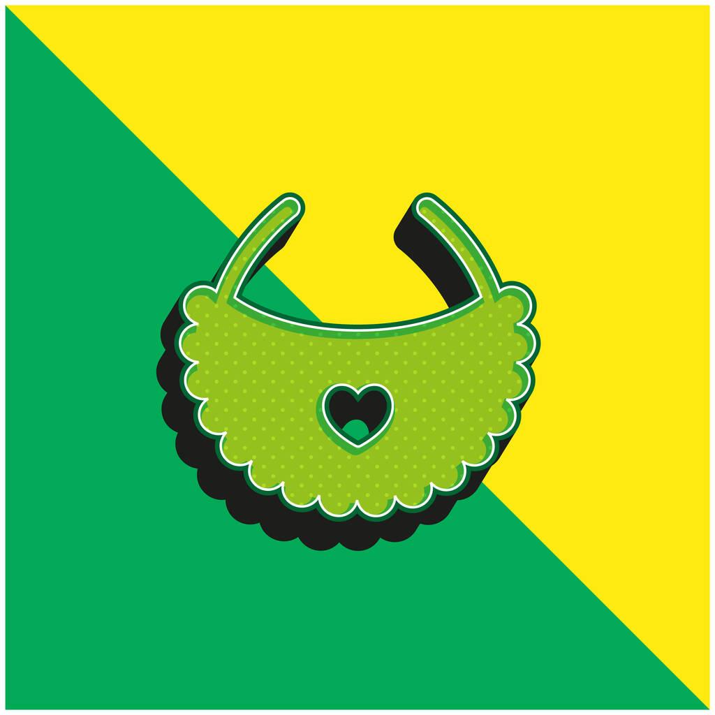 Bib Green and yellow modern 3d vector icon logo