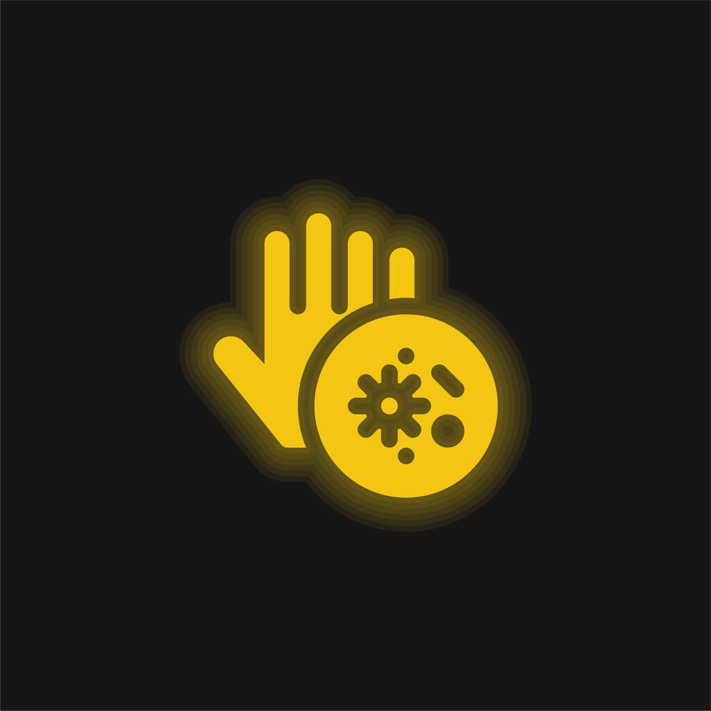 Bacteria yellow glowing neon icon