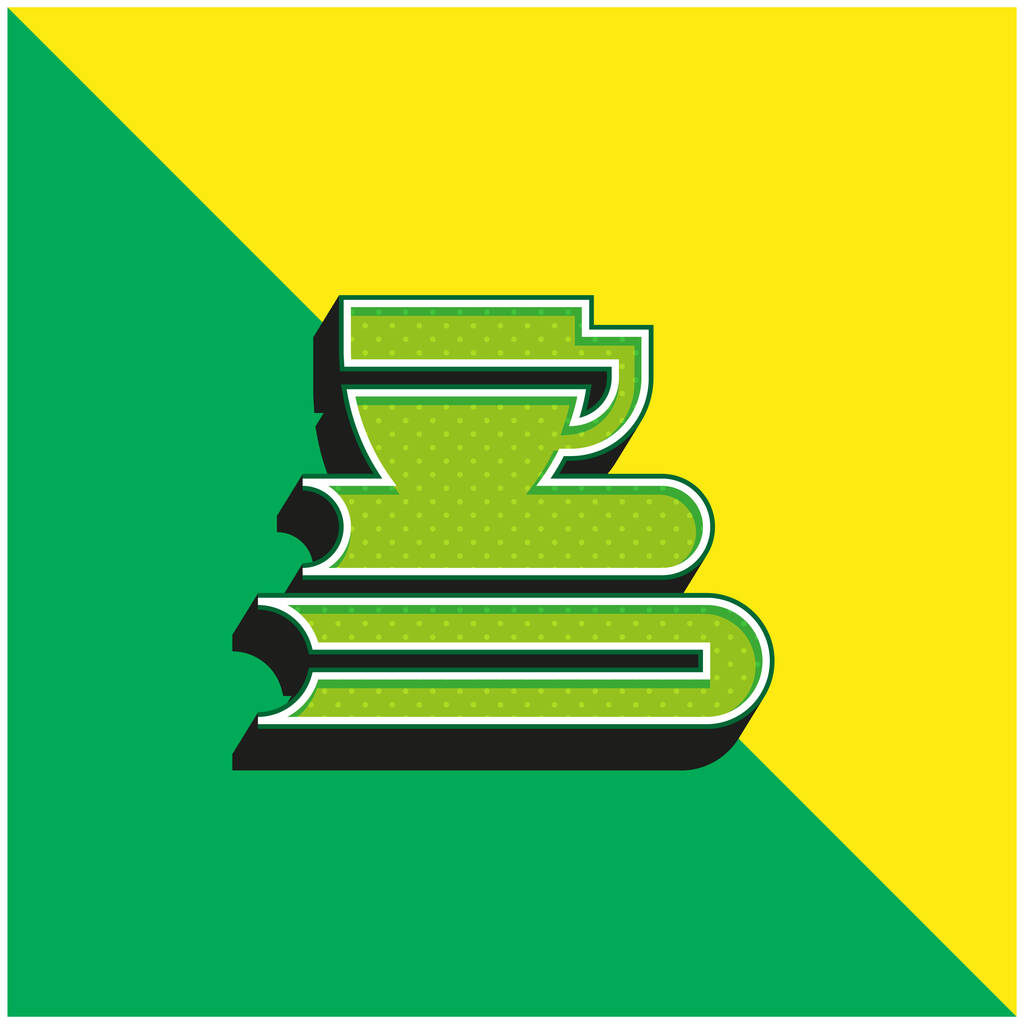 Books Green and yellow modern 3d vector icon logo