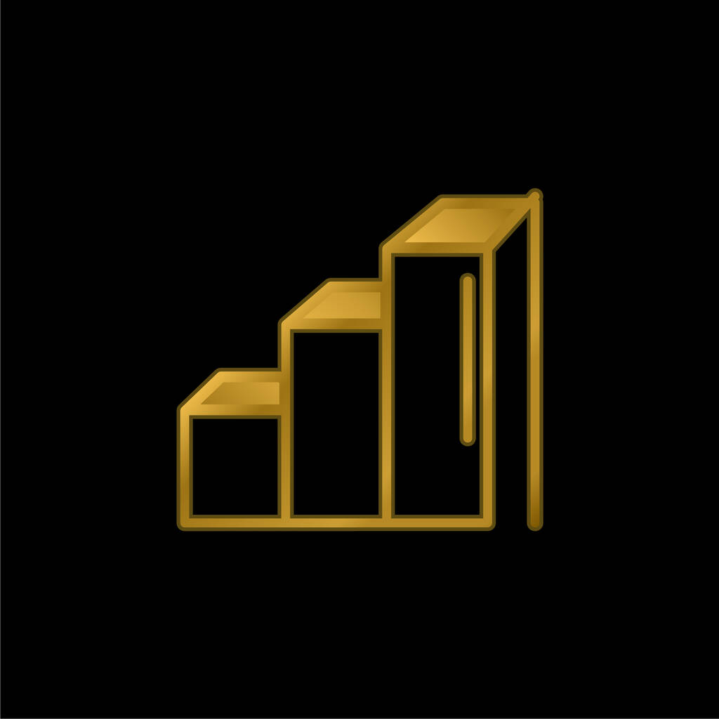 Ascendant Bars Graphic gold plated metalic icon or logo vector