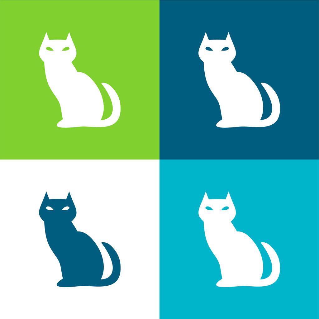 Black Evil Cat Flat four color minimal icon set