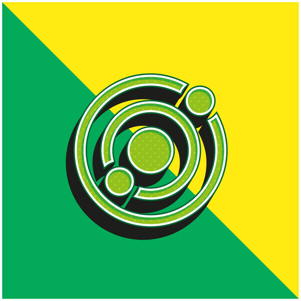 Astronomy Green and yellow modern 3d vector icon logo