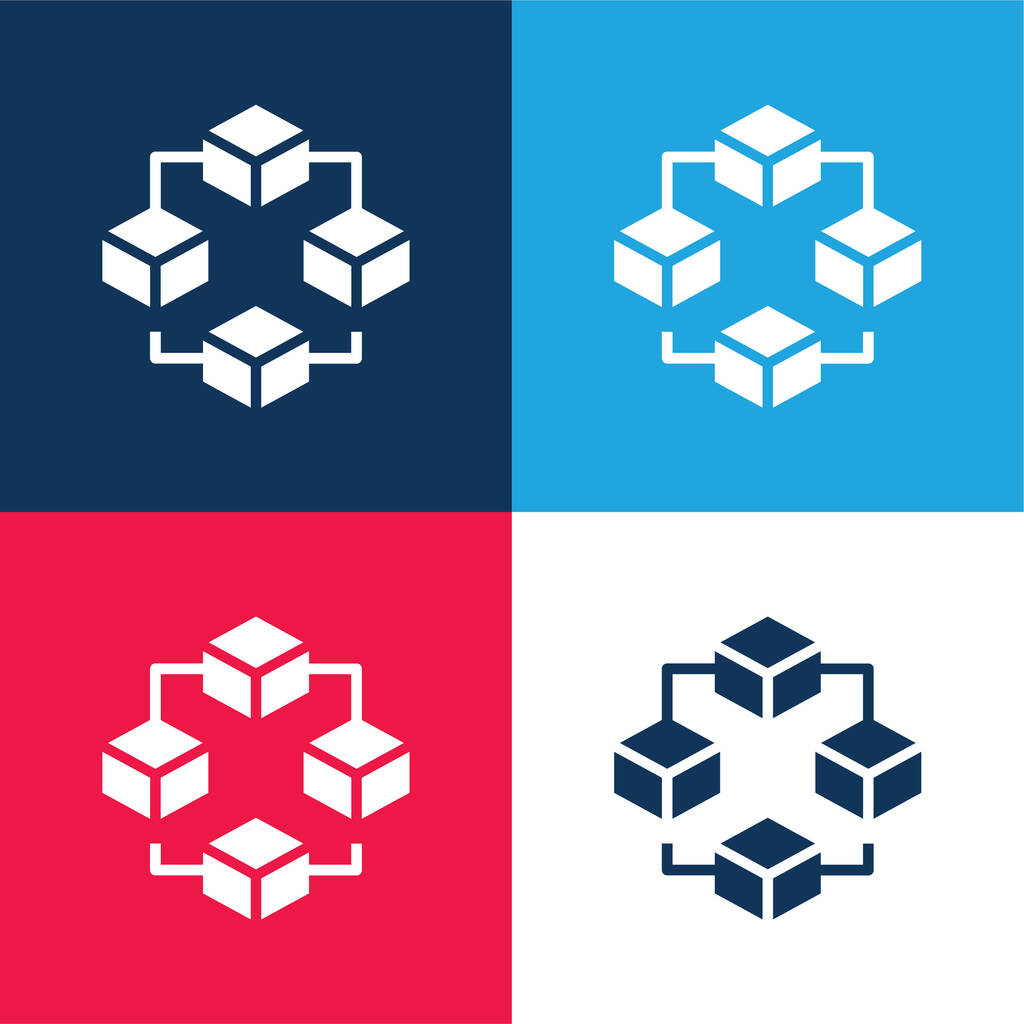 Blockchain blue and red four color minimal icon set