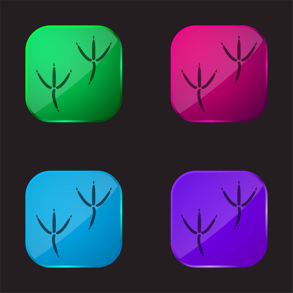 Bird Pawprints four color glass button icon