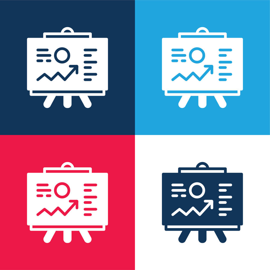 Analytics blue and red four color minimal icon set