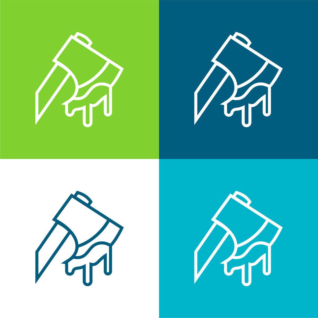 Axe Cutting An Animal Flat four color minimal icon set