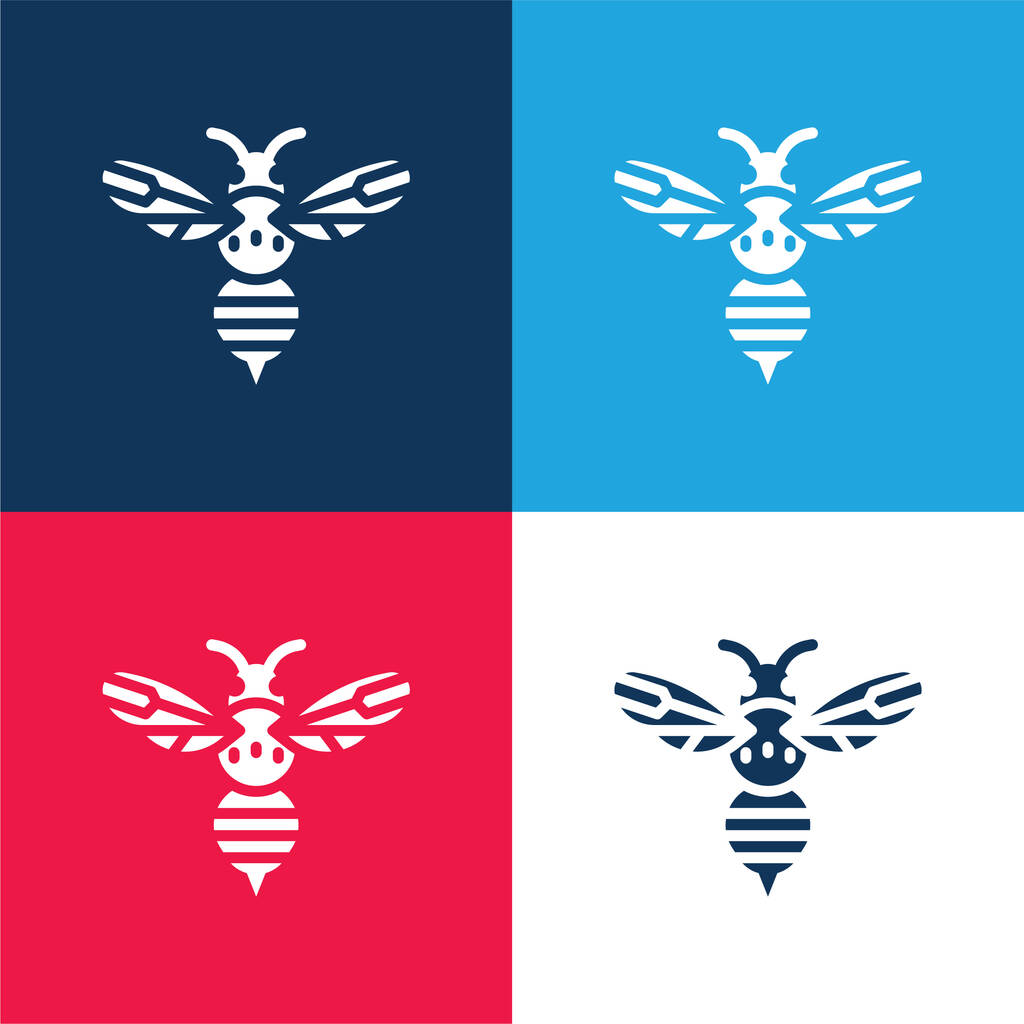 Bee blue and red four color minimal icon set