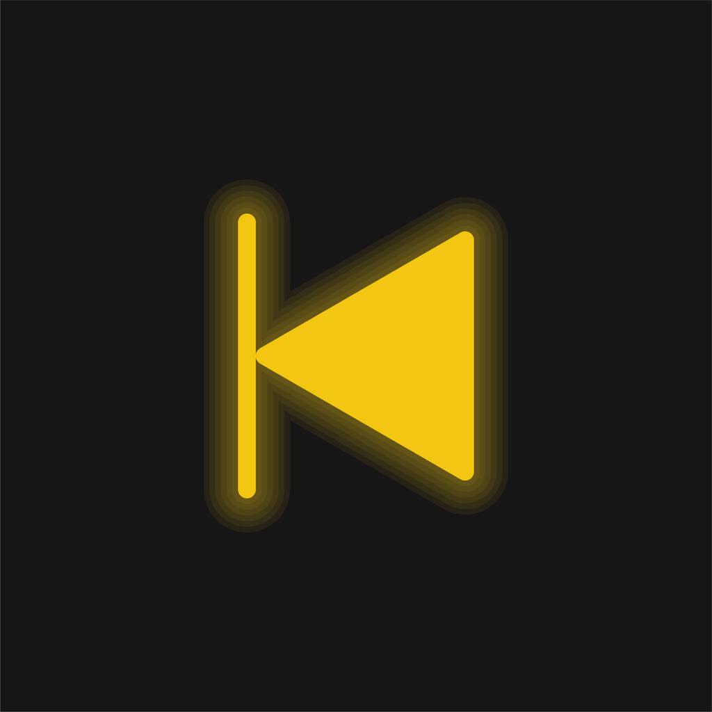 Backward yellow glowing neon icon