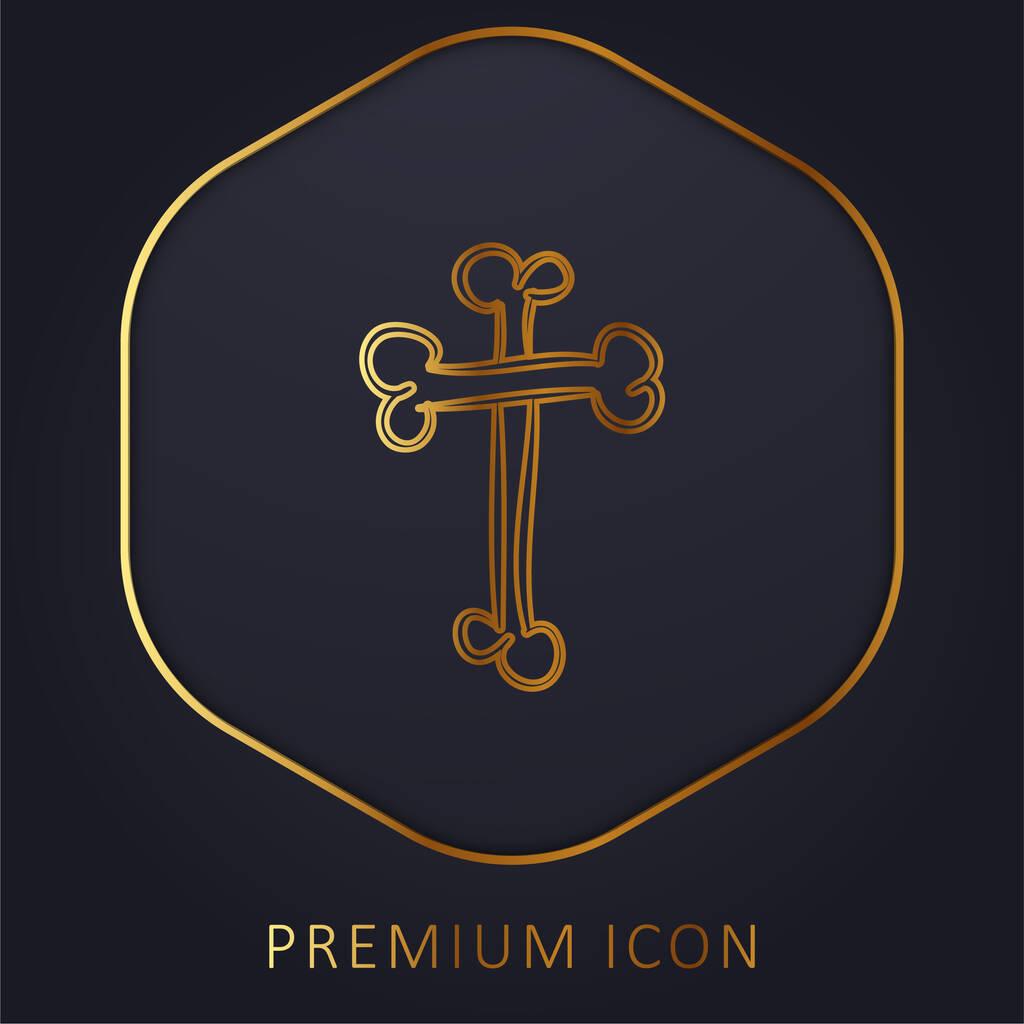 Bones Cross Religious Halloween Sign Outline golden line premium logo or icon