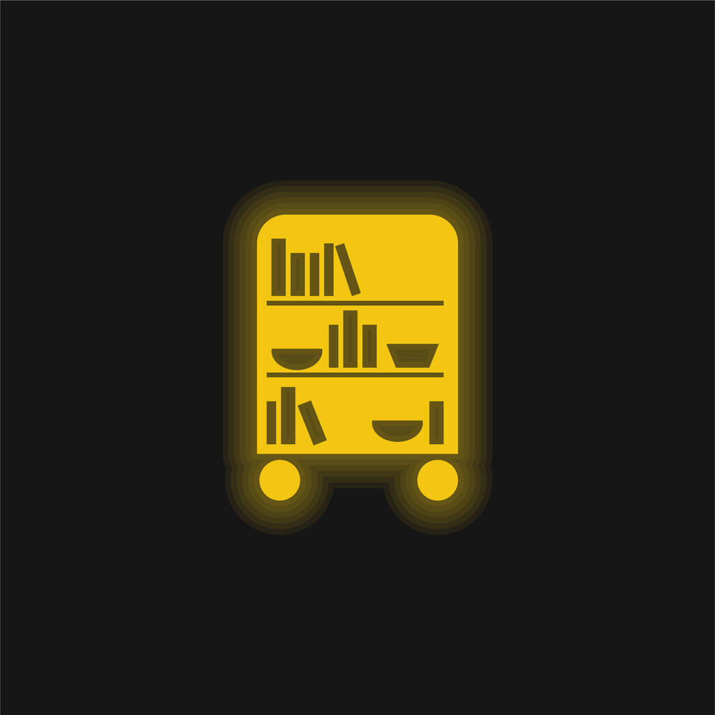 Bedroom Library Of Wheels With Books yellow glowing neon icon