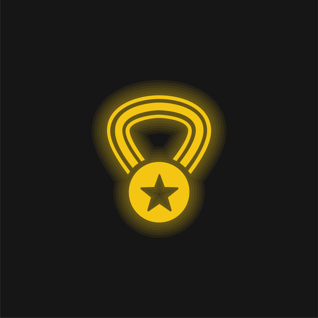 Award Medal With A Star On A Necklace yellow glowing neon icon