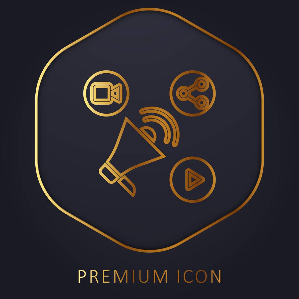 Advertising golden line premium logo or icon