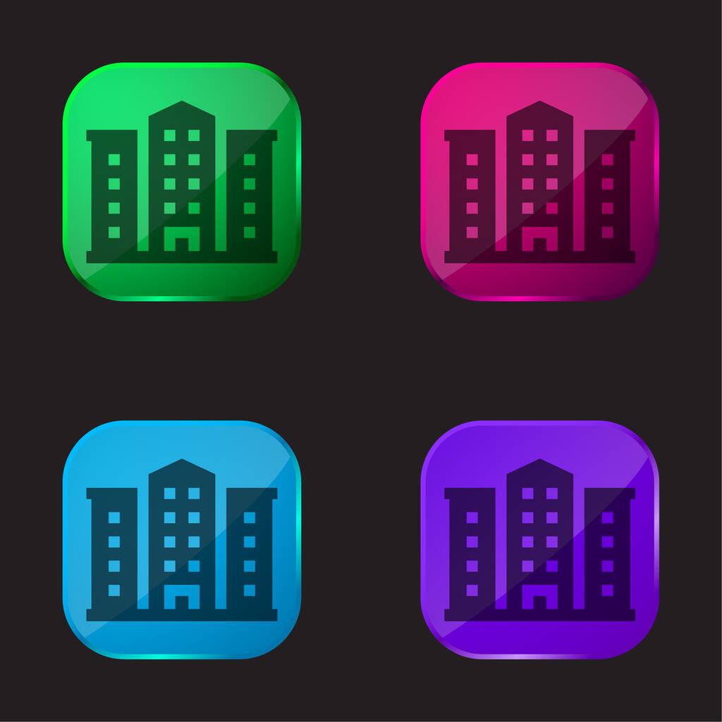 Apartment four color glass button icon