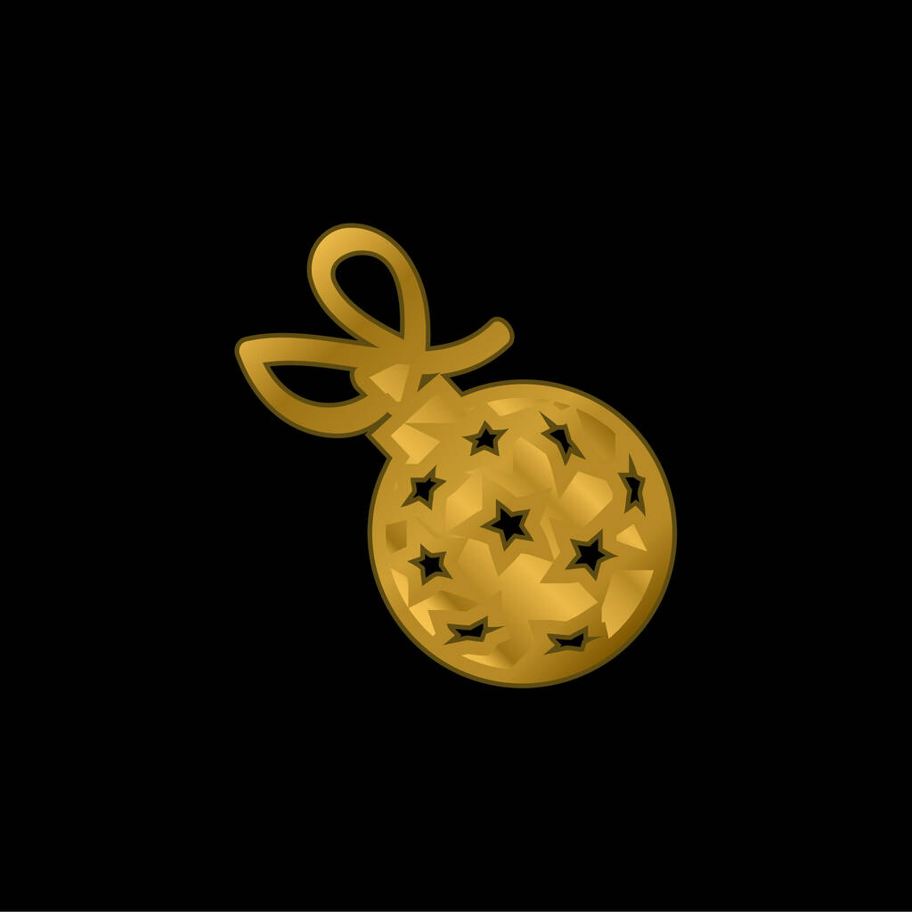 Ball With Stars And Ribbon gold plated metalic icon or logo vector