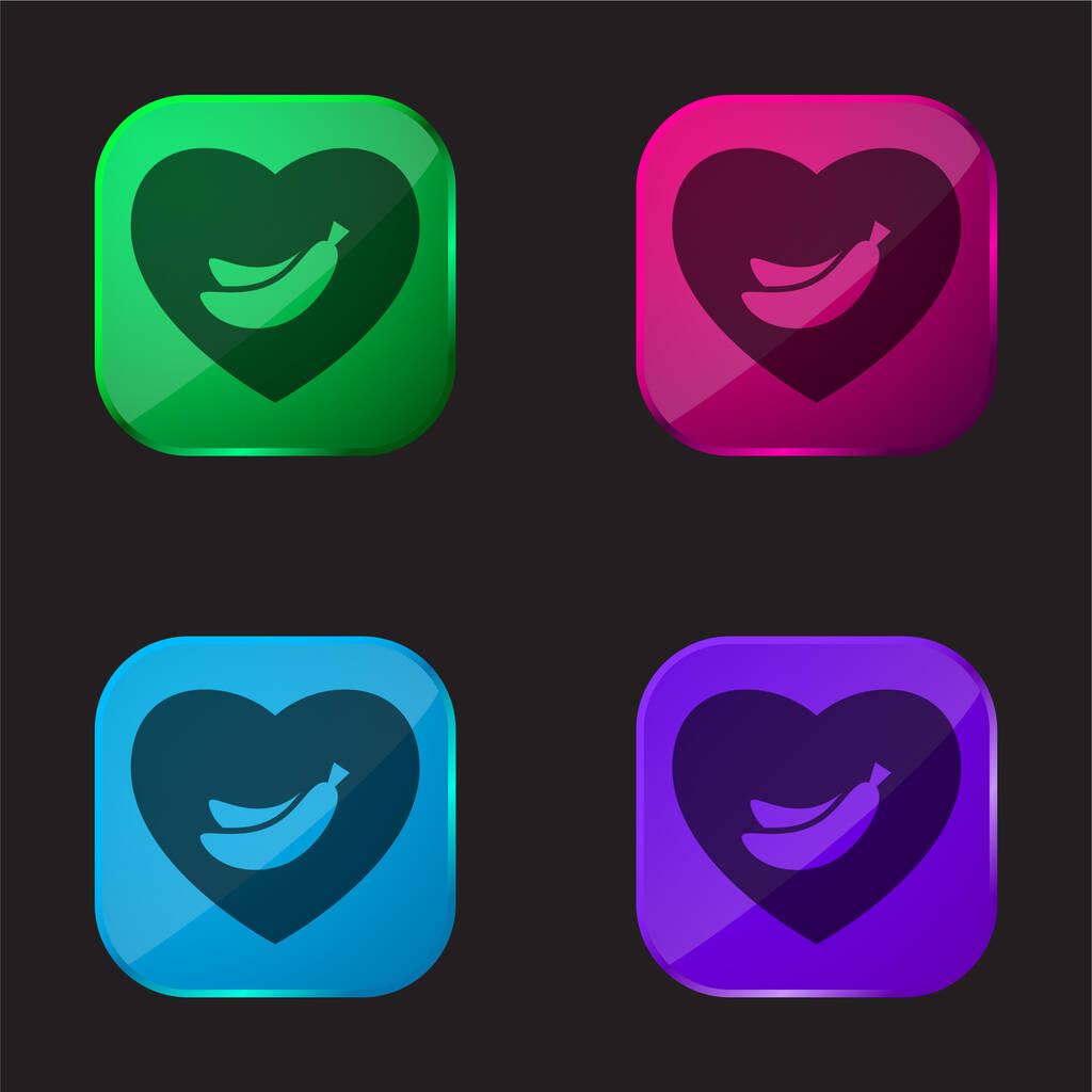 Banana Lover Symbol Of Bananas Inside A Heart four color glass button icon