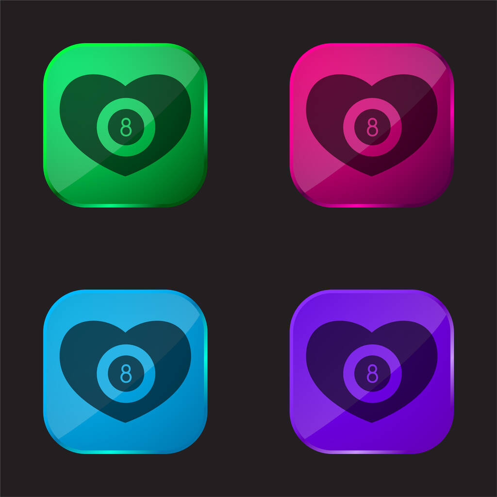 Billiards Heart With Eight Ball Inside four color glass button icon