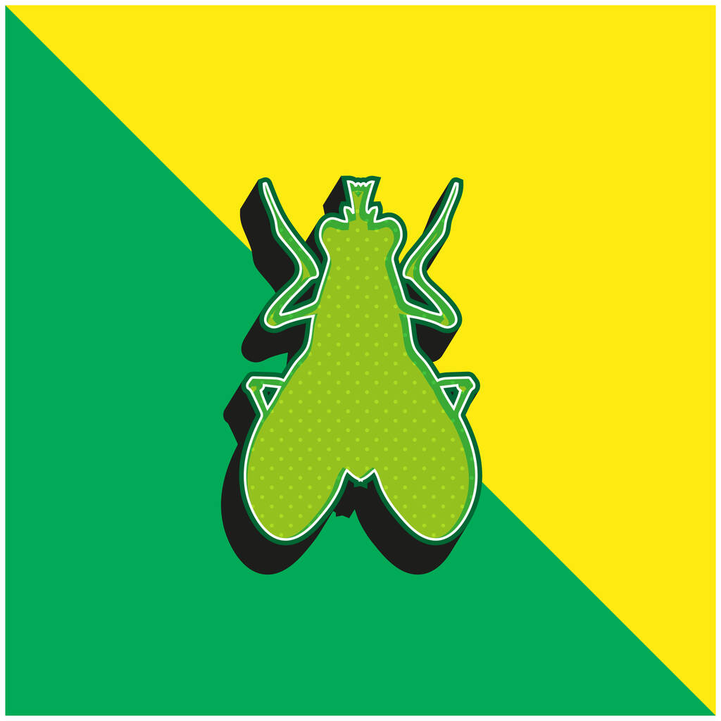 Blow Fly Insect Shape Green and yellow modern 3d vector icon logo