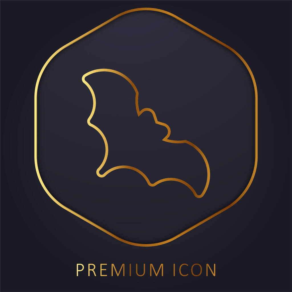 Bat golden line premium logo or icon