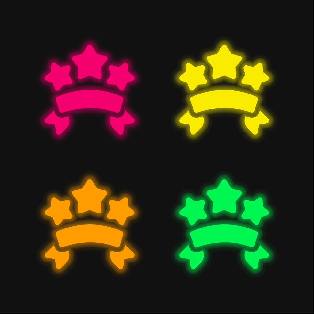 Banners four color glowing neon vector icon