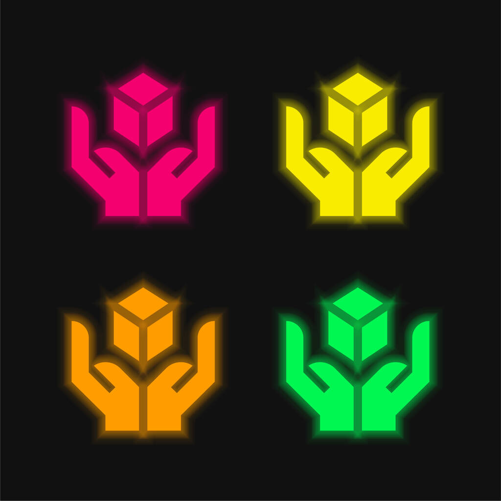 Box four color glowing neon vector icon