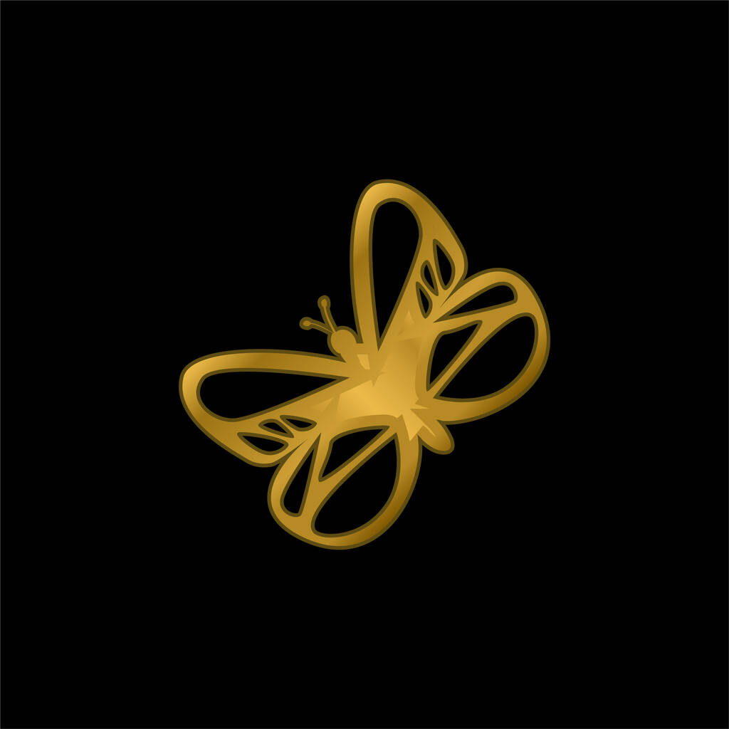 Beautiful Butterfly gold plated metalic icon or logo vector