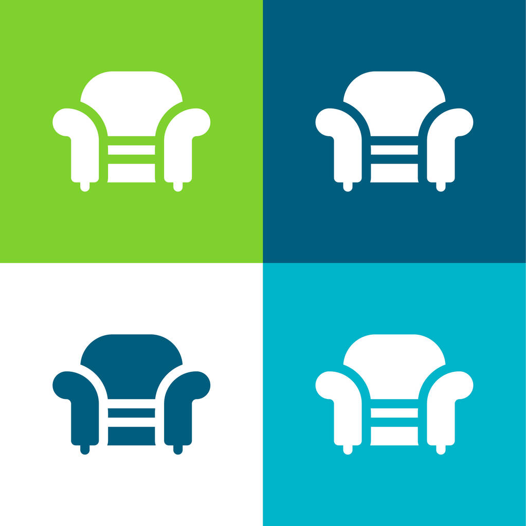 Armchair Flat four color minimal icon set
