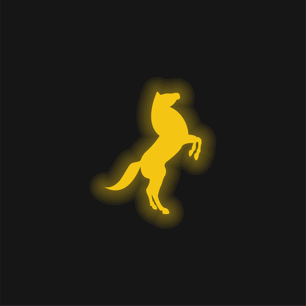 Big Horse Stand Up Pose On Back Paws yellow glowing neon icon
