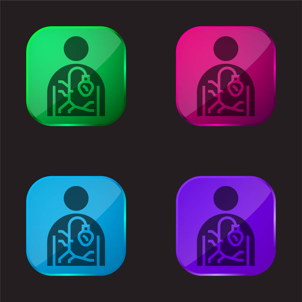 Agiography four color glass button icon