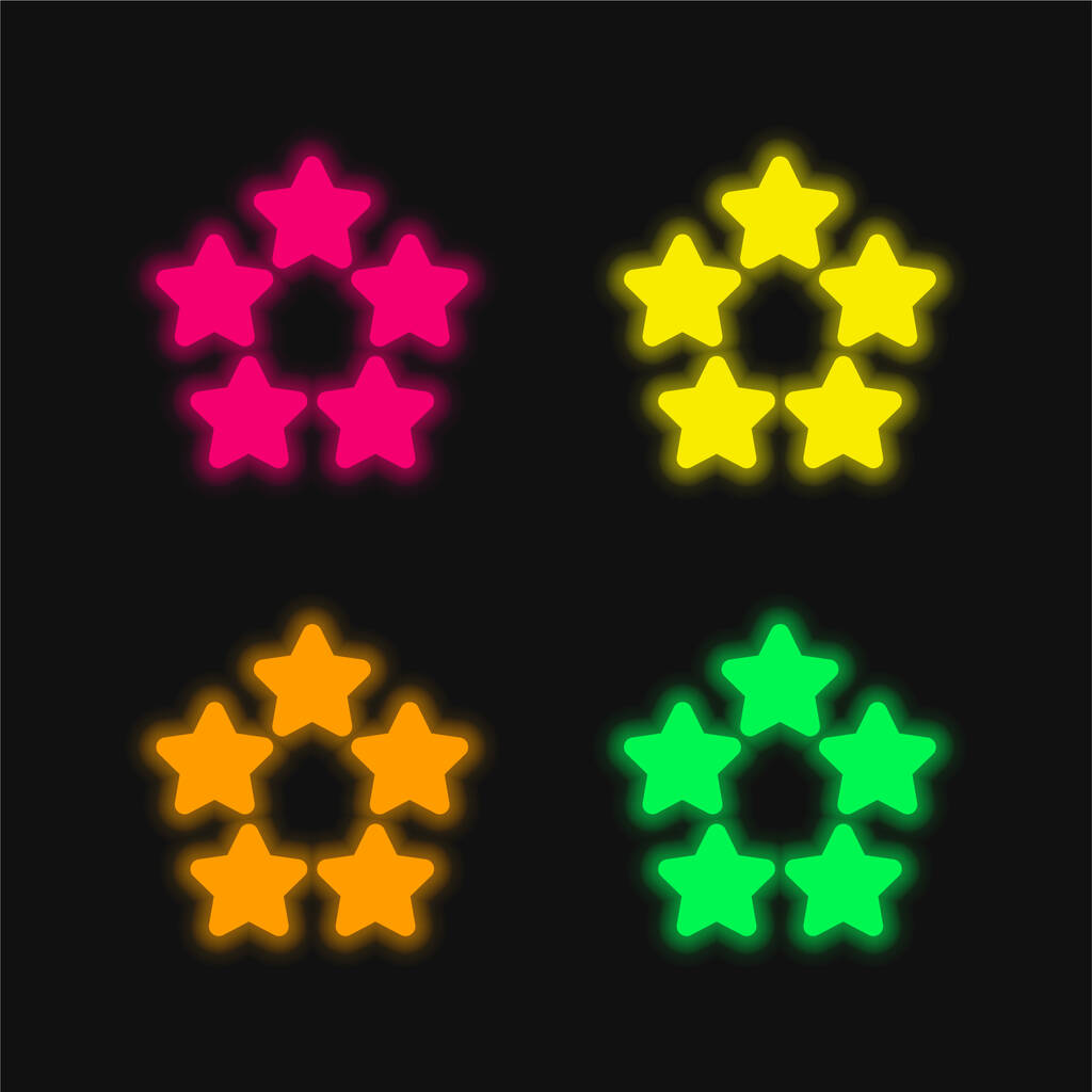 5 Stars four color glowing neon vector icon