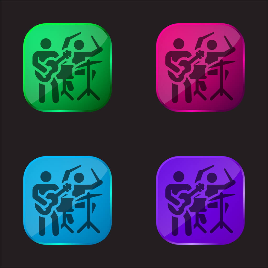 Band four color glass button icon