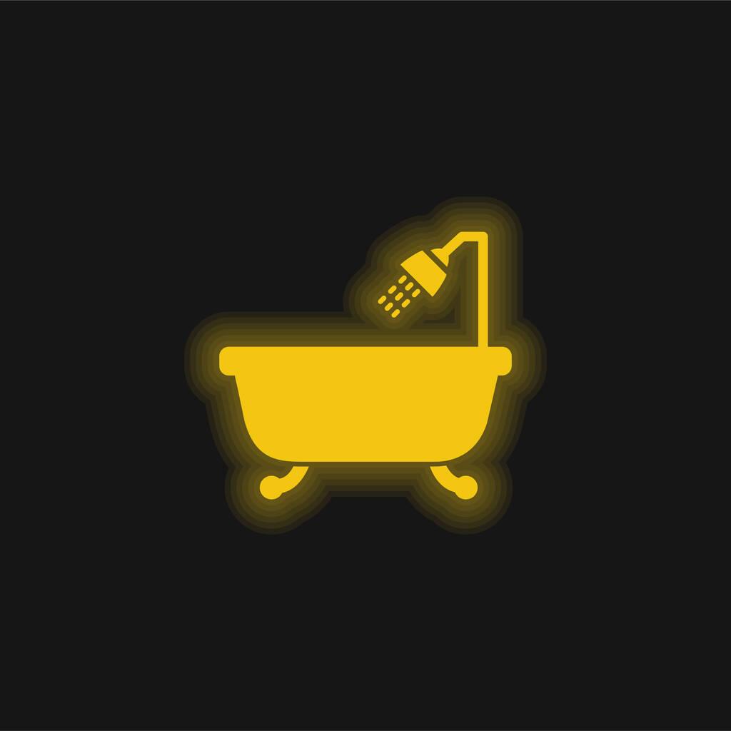 Bathtub With Opened Shower yellow glowing neon icon