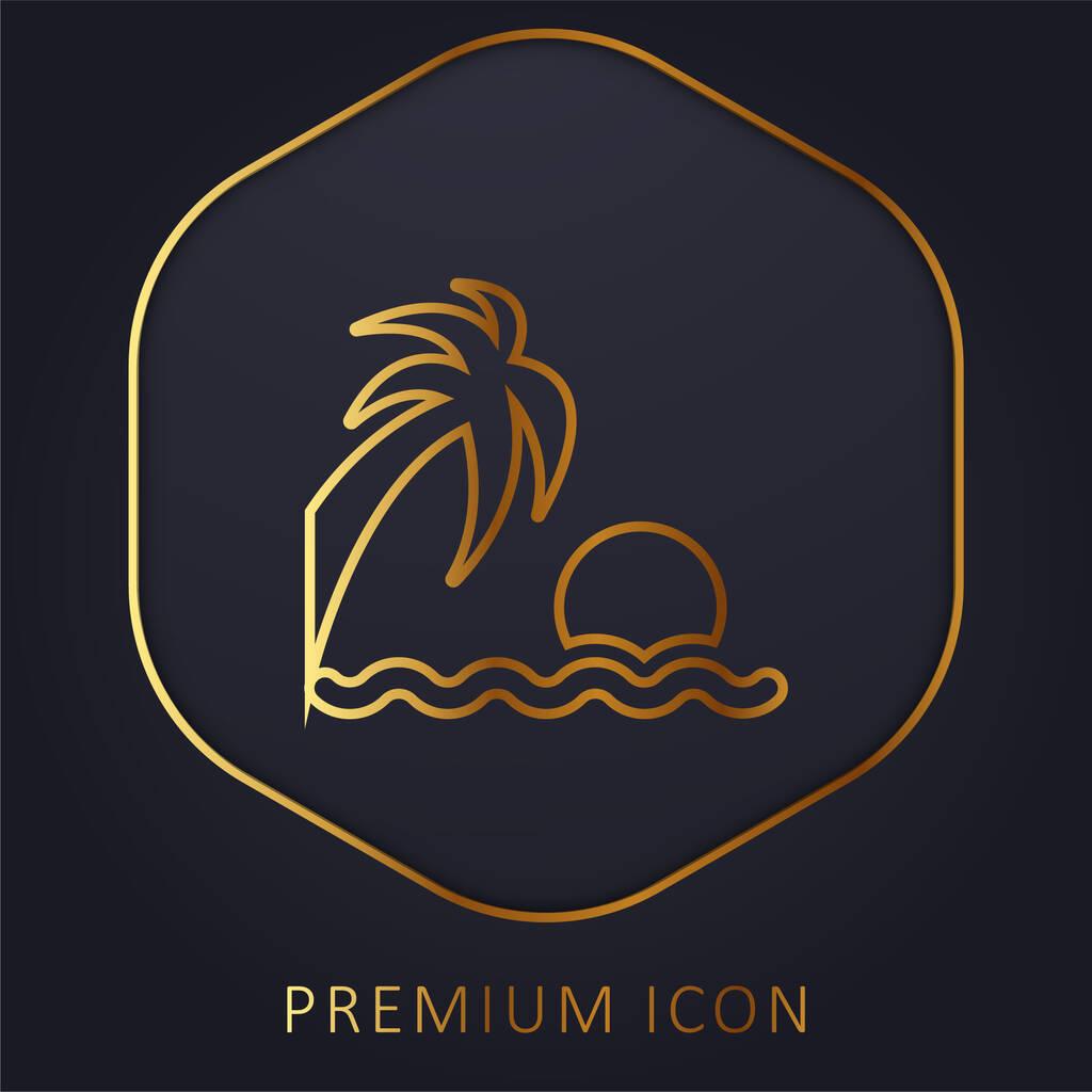 Beach Sunset golden line premium logo or icon