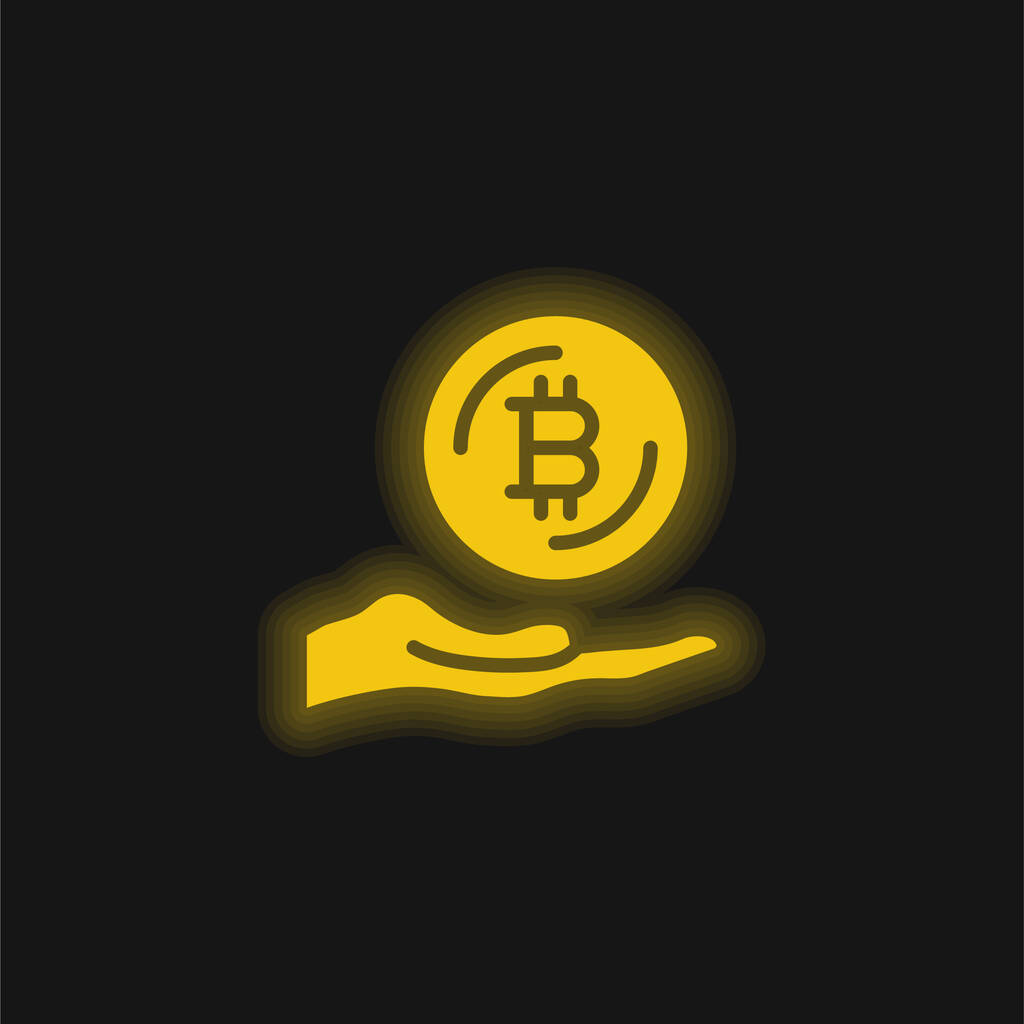 Bitcoin yellow glowing neon icon