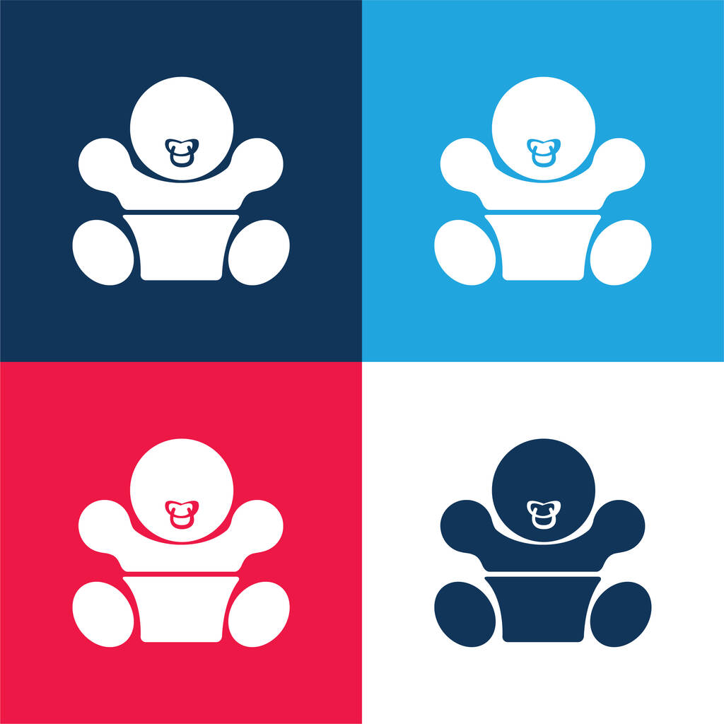 Baby With Pacifier blue and red four color minimal icon set